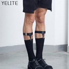 YELITE 2Pcs Tide Men Women Anti-wrinkle Anti-skid Hoist Clip Garter With Calf Ring Socks Double Buckle