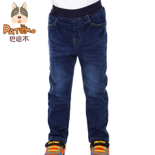 PATEMO Boys Jeans Pants Mid Elastic Waist Light Stretchy Denim Winter Thick Full Length Pants Brand Children Boys Clothing