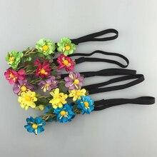 5Pcs lot 5color Handmade Bohemia Braid Flower Headbands For Girl Elastic  Flower Crown Headband Women 40ef87449e00