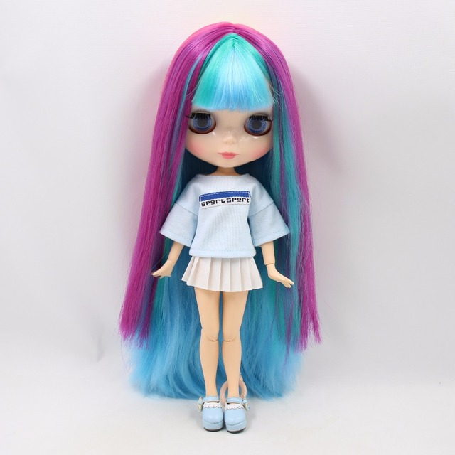 Factory Neo Blythe Doll Straight Rainbow Hair Jointed Body 30cm