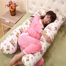 Cute Bear Printed U Style Cotton Pregnancy Pillow Cushion Waist Pillow For Women Maternal Comfortable Side Sleepers Body Pillow