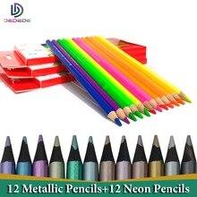Artist Colored Pencils 24 lapis de cor profissional 12pcs Black Wood Metallic Neon Coloured Pencils and Colouring Pencils Set