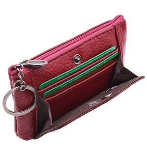 Женский мини-кошелек, из натуральной кожи, на молнии, с кольцом для ключей