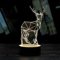 MUQGEW Deer 3D Unique 2017 Newest Bedroom Decoration Unique Xmas Lighting Effects Optical Illusion Home Decor