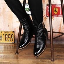 Британский повседневная мужская черный середины икры шерсти зимы теплый снег сапоги мартин мотоцикл весна осень плюшевые корова кожаные ботинки молния человек
