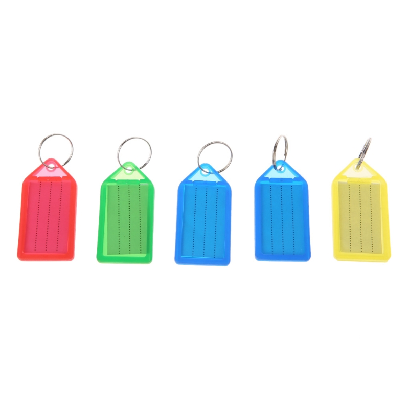 Hot Sale 5Pcs Multicolor Plastic Key Tag Assorted Key Rings ID Tags Name Card Label