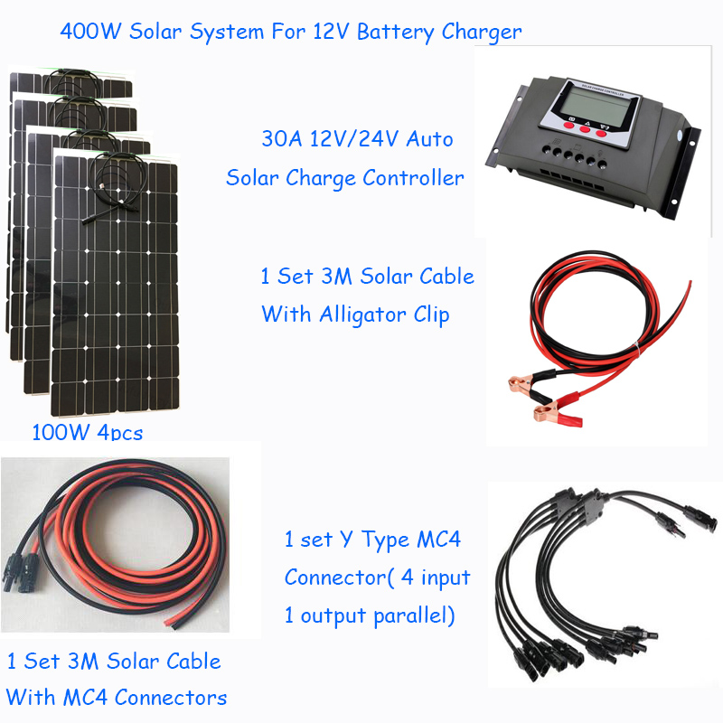 400w Complete Diy solar system kit 12V flexible solar panel 100w 4pcs 1 30A solar charge