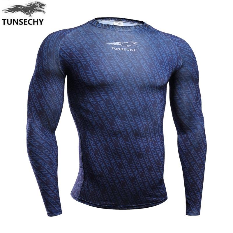 TUNSECHY 2018 New Fashion Compression 3D Digital printing T-shirt Men's round neck long sleeve T-shirt Free transportation