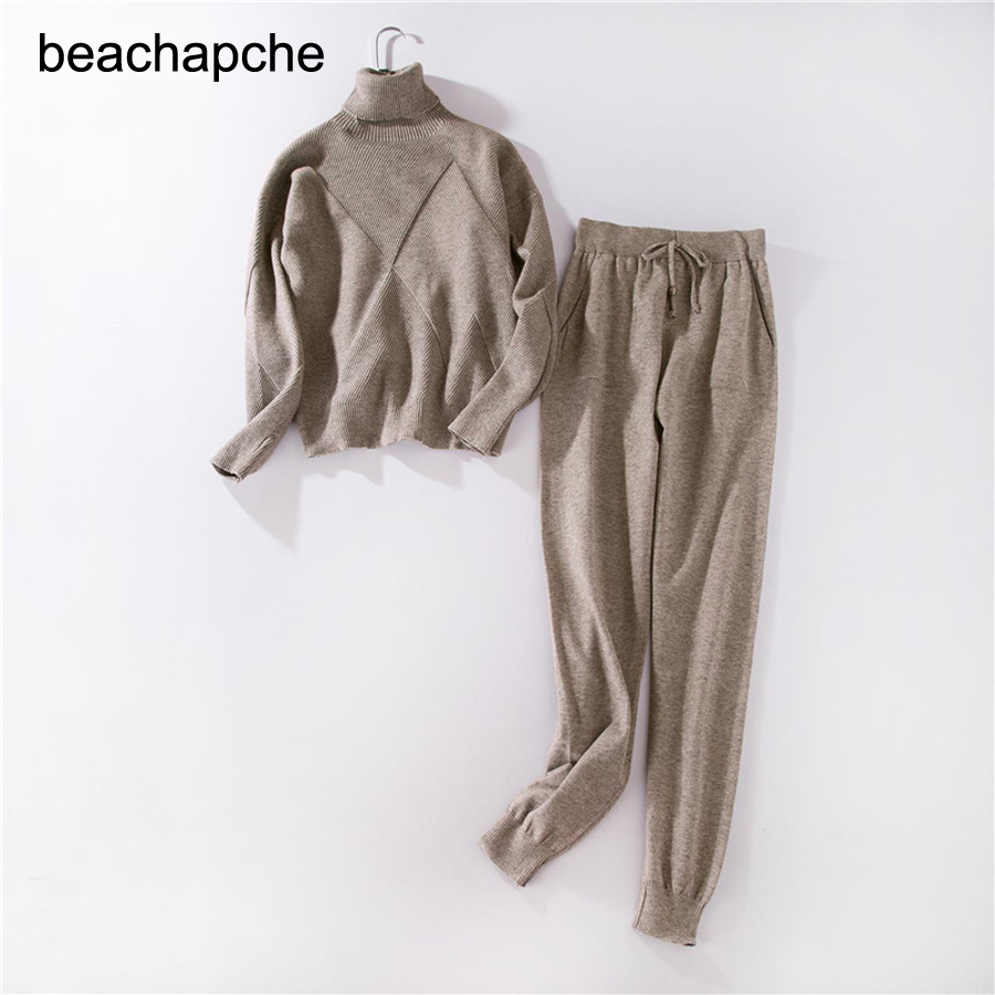 חורף צמר וקשמיר סרוג חם חליפת גבוה צווארון סוודר + מינק קשמיר מכנסיים רופף סגנון שני חלקים סט לסרוג