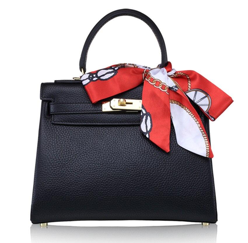 Marque de luxe Designer femmes sac à main véritable haut en cuir poignée sac fourre-tout avec serrure
