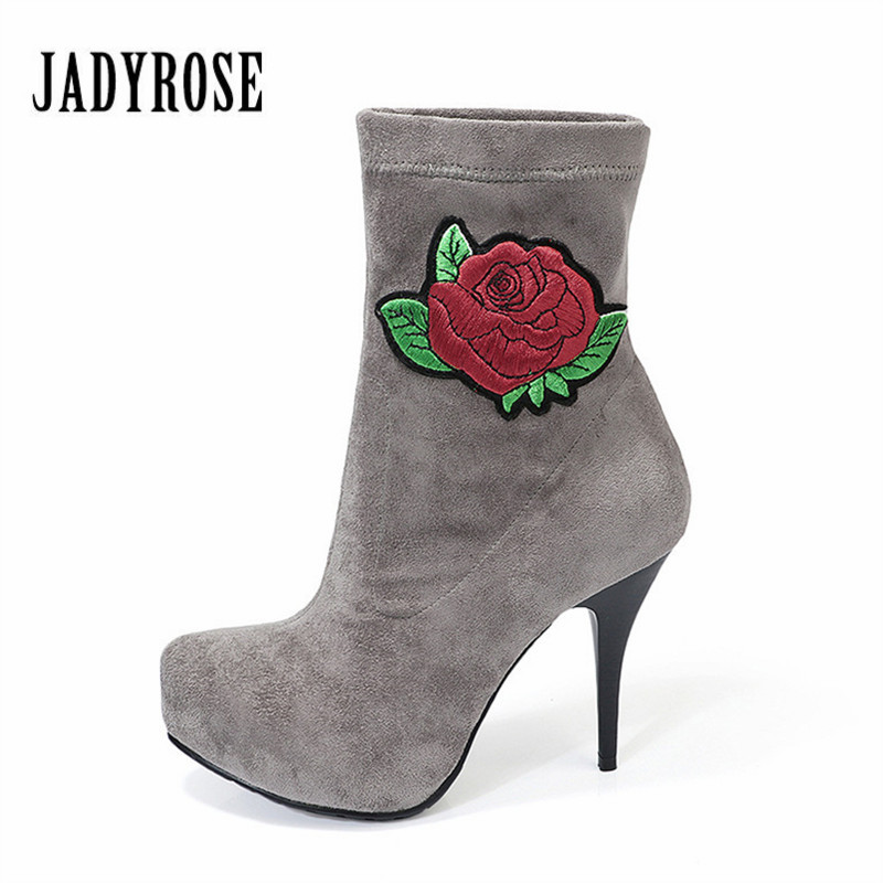 Jady Rose Flower Embroidery Women Ankle Boots 11CM High Heel Elastic Fabric Botas Mujer Female Platform Pumps Shoes Woman