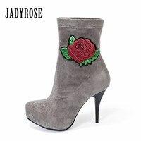 Jady Rose Flower Embroidery Women Ankle Boots 11CM High Heel Elastic Fabric Botas Mujer Female Platform