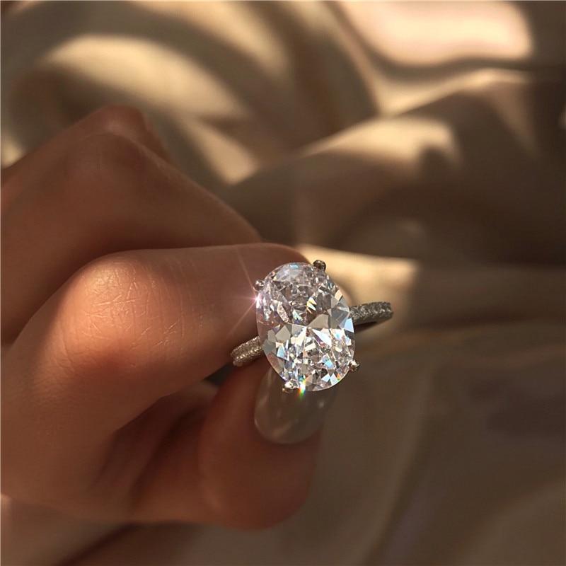 Handgemachte Schmuck 925 Sterling silber ring Oval cut 3ct AAAAA Zirkon Cz stein Engagement hochzeit band ringe für frauen braut geschenk