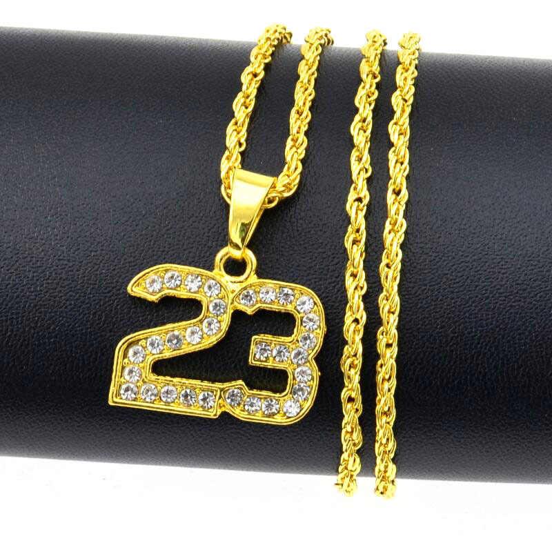 FENGLI 23 list złoty naszyjniki i wisiorki złoty unikalne koszykówka mężczyźni naszyjnik Punk sport gwiazda kryształ choker łańcuszek kołnierz