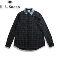 Newest Fashion Urban Clothes Hip Hop Men Unisex Plaid Green Denim Collared Shirt Flannel Oversized Dress