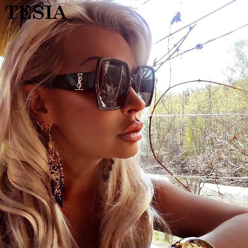 Vintage Square Sunglasses Women Luxury Brand Designer Transparent Glasses Mirror Coating Lenses Women's Sunglasses Lunettes