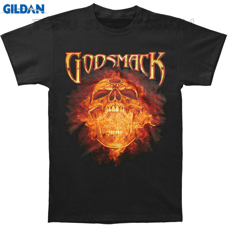 Gildan Tee4U T Shirt Design Printer Crew Neck Godsmack Burning Skull Men Short Office Tee