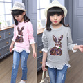 Spring New round collar fashion girls t shirt kids puff sleeve sequins tops children lace decoration T-shirt with long sleeve