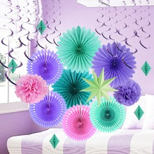 15 Pcs/set Party Decorations Multicolor Folding Fans Set Wedding Birthday Mermaid Theme Supplies Paper Crafts New