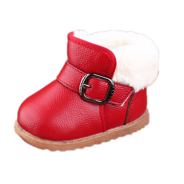 0-3Y Winter Baby Snow Boots Children's Cow Muscle Boots Baby Genuine Leather Flat with Platform shoes Boys Hook Loop Warm Plush