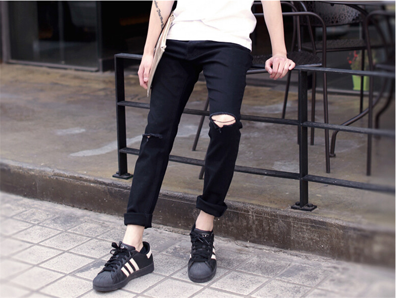 где купить  Fashion Designer Mens Skinny Biker Jeans Joggers Hip Hop Swag Moto Black Denim Joggers Pants For Man Plus Size M,L,XL,XXL  дешево