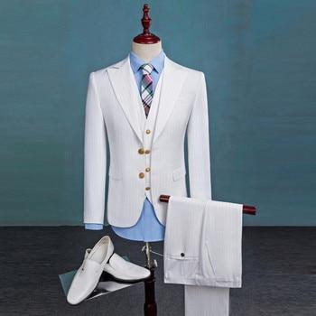 Men's suit three-piece suit (jacket + pants + vest) men's fashion Slim solid color suit wedding groom groomsmen dress custom