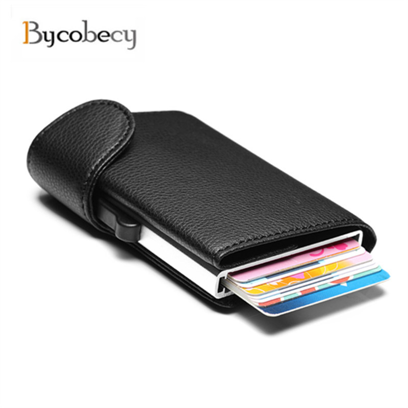 Bycobecy 2019 nuevo estilo Unisex, titular de la tarjeta de negocio cartera Metal antirrobo cartera tarjeta caso de aluminio caso de la tarjeta de crédito