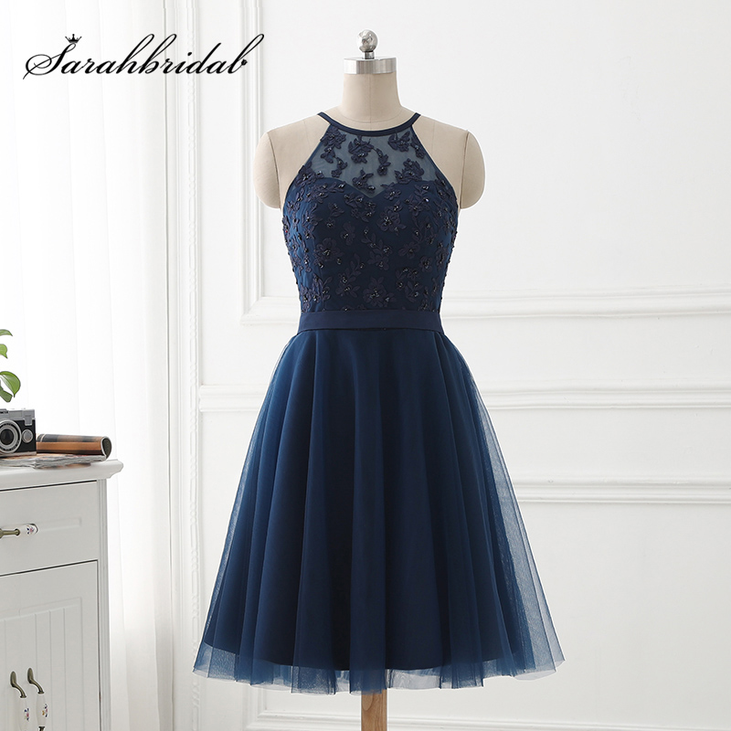 Simple Short Tulle   Prom     Dresses   with Lace Appliques Beading Sequin Bodice Sexy Halter Back Cross Summer Little Party Gowns OS430