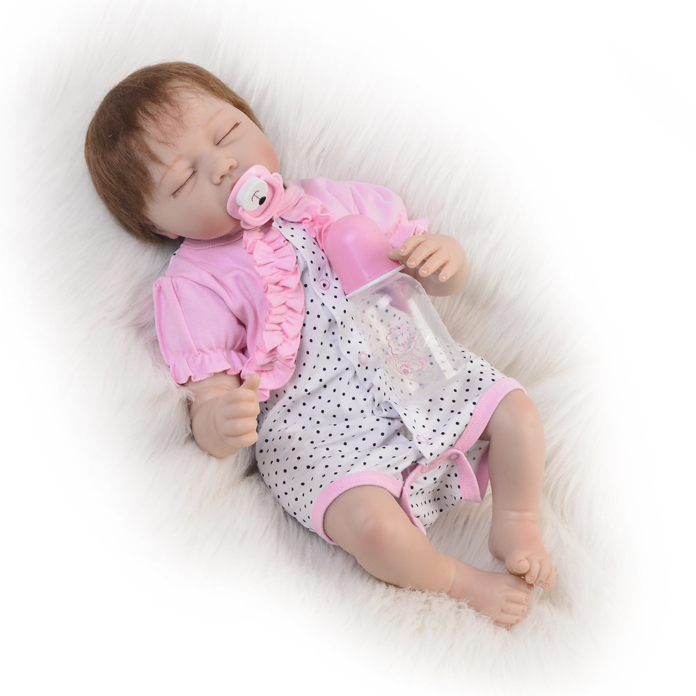 Pretty Reborn Silicone Baby Doll with Cloth Body 22 Inch Alive Baby Toy For Toddlers Reborn Doll Boneca Reborn Surprise Lol warkings reborn