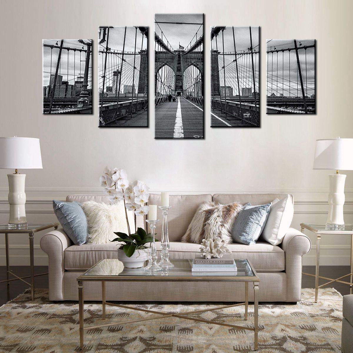 WM1620 Black White Ray Henders Brooklyn Bridge Fine Art Print Poster ...