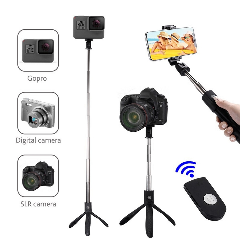 Upgraded Version Selfie Stick Tripod With Bluetooth Remote Control for Gopro Tripod for iPhone Phone Sport Camera Light Monopod cell phone tripod with bluetooth remote control mobile phone selfie stick mini tripod for sport camera light monopod with clip