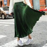 2016 Spring Womens Pleated Skirts Green High Waist Pleated Long Midi Skirt Summer Beach Women Skirt