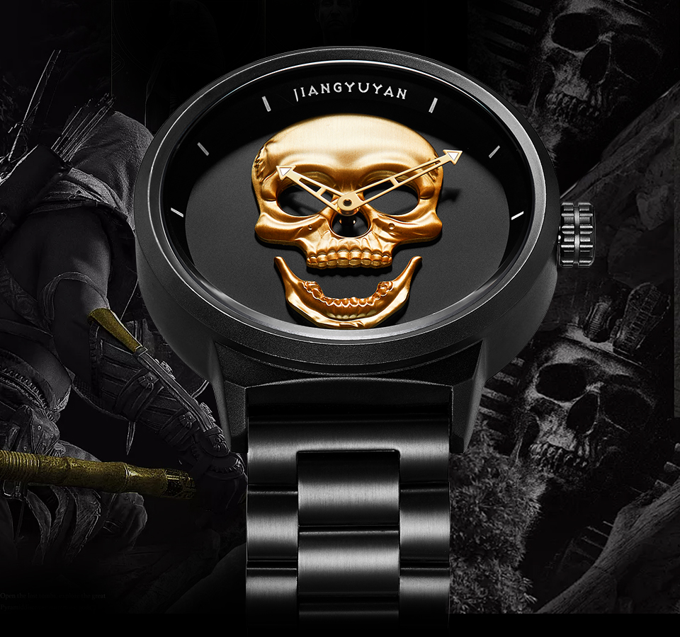 1739-960_01  2018 Scorching Pirate Punk 3D Cranium Males Watch Model Luxurious Metal Quartz Male Watches Retro Trend Gold Black Clock Relogio Masculino HTB1 c89d5MnBKNjSZFzq6A qVXaI