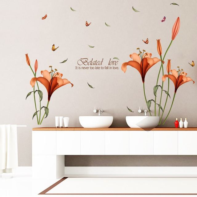 Lily Flowers Wall Sticker On The Wall VinYl Wall Stickers Gome Decor Bedroom Backdrop Wall Decals  sc 1 st  Aliexpress & Online Shop Lily Flowers Wall Sticker On The Wall VinYl Wall ...