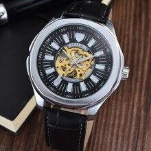 GOER бренд Мужской наручные часы Полностью автоматическая кожа Спорта водонепроницаемый мужские механические часы Световой Скелет