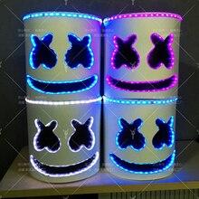 Светодио дный светодиодный свет маска полная голова Шлем Хэллоуин косплэй Бар Маска музыкальный реквизит для MarshMello DJ музыка DIY игрушка
