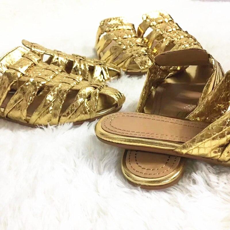 Star Diapositives Pic Chaussures Motif Vacances Super Marque Femme D'été En Out Hallow As Femmes Pantoufle Cuir Serpent Plage Or 2018 wTxFYqgHg