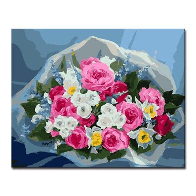 Kerangka Lukisan Oleh Bilangan Diy Digital Minyak Gambar Warna Bunga