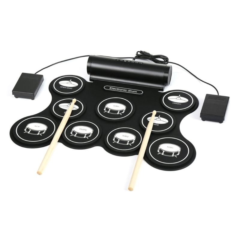 Portable Stereo Digital Electronic Roll Up Drum Kit 9 Silicon Drum Pads Support MIDI Function Built-in Speakers USB Powered