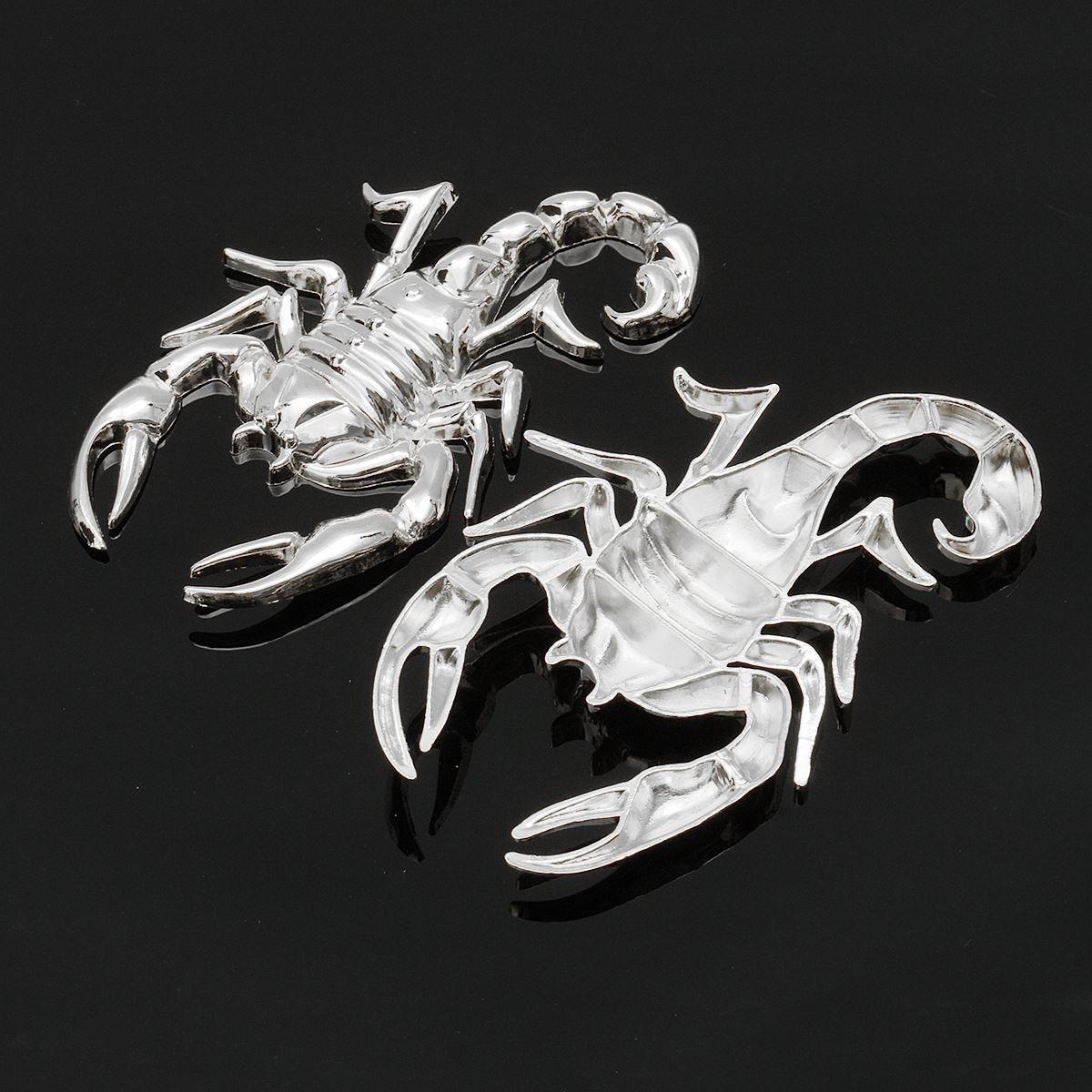 1Pair Motorcyle Sliver/Gold 3D Scorpion Gas Tank Fairing Decal Sticker For Harley/Honda/Yamaha/Suzuki Metal