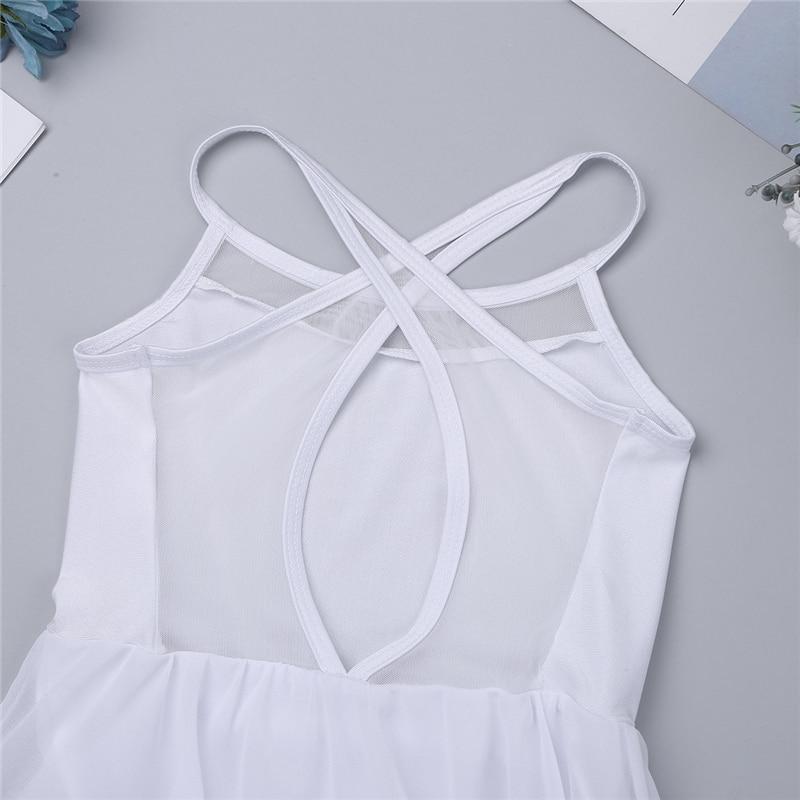 Girls Sleeveless Mesh Splice Spaghetti Shoulder Ballet Dance Gymnastics Dress