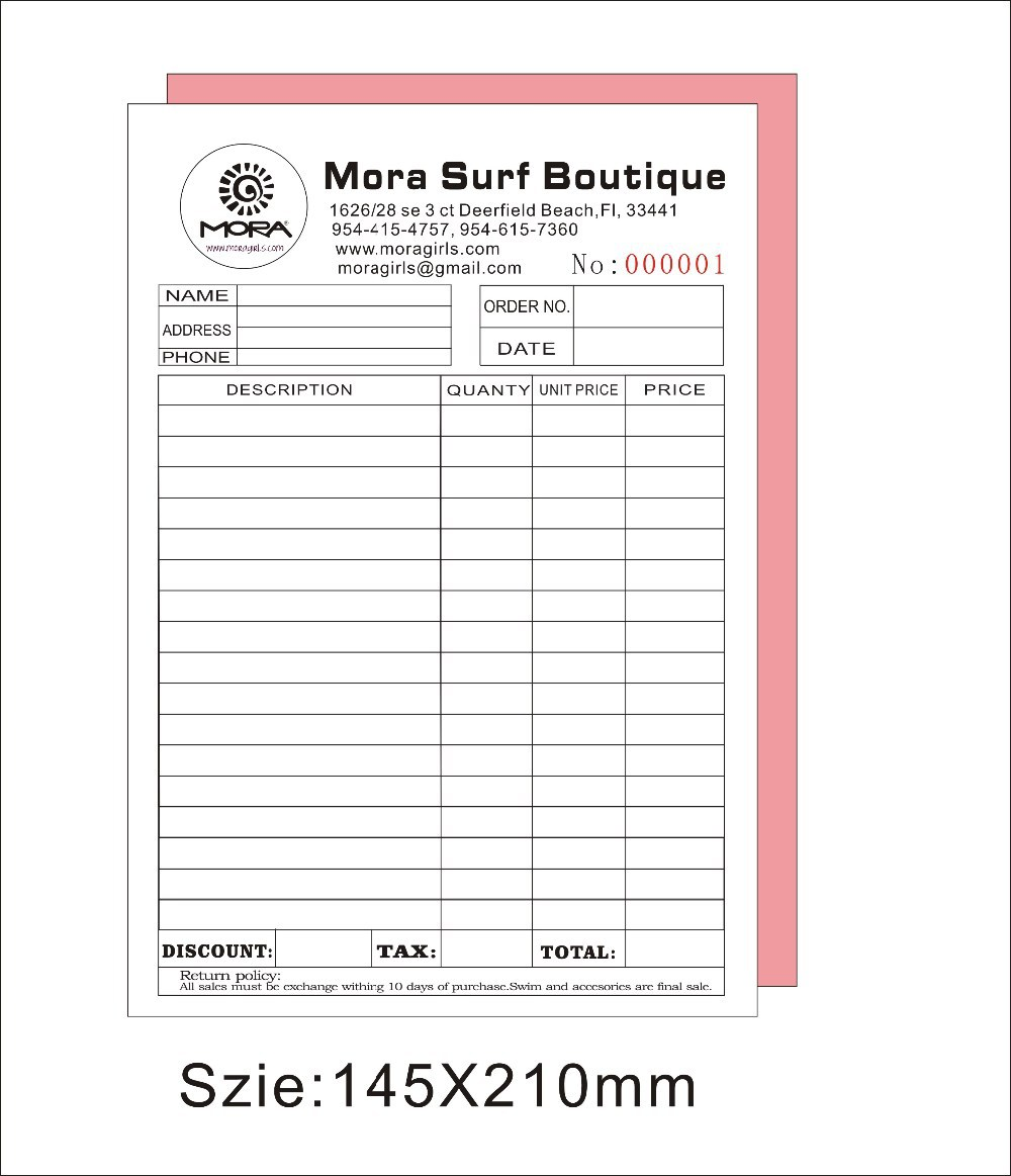 custom print a5 50pcs two copy invoice book free shipping by fedex