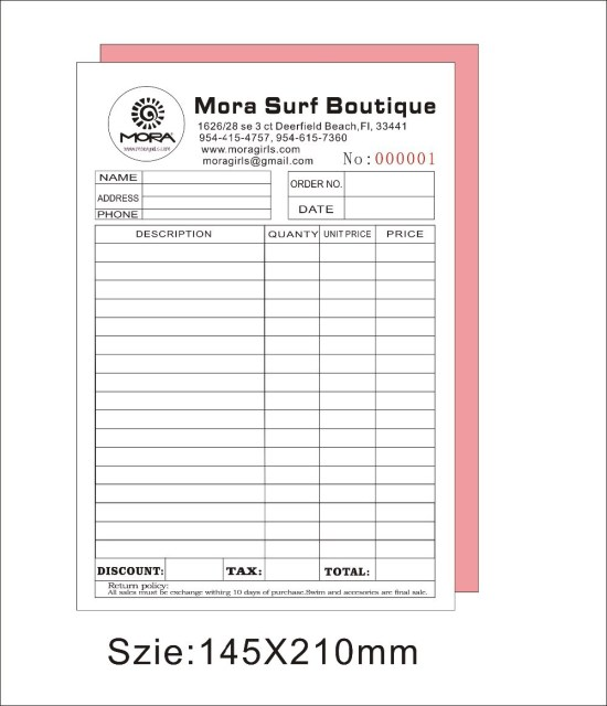 Custom print A5 50pcs two copy invoice book ,free shipping by fedex