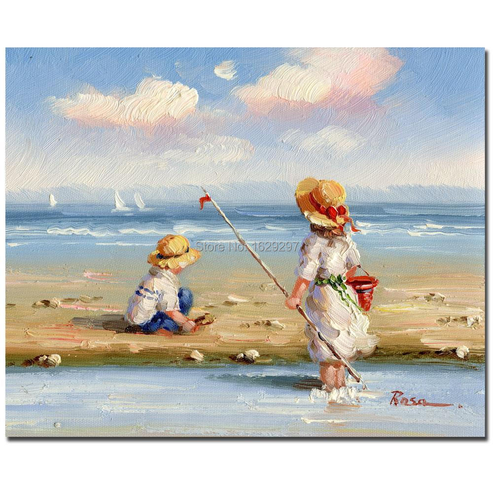 At The Beach Hand Painted Kids Oil Painting Canvas Art Cheap Room Decorative Modern