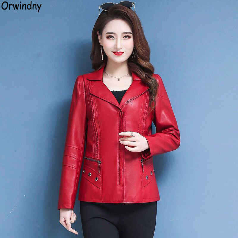 Orwindny Mother Leather Clothing Plus Size 5XL Turn-down Collar Fashion Leather Jacket For Women Zipper Large Size Base Coats