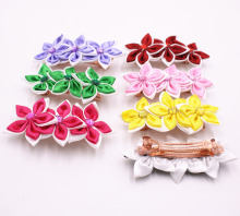2Pes/lot Beautiful Chiffon Flowers Girls Hair Clip Band Hairpins Kids Rhinestone Stars Barrettes Gift Hair Accessories