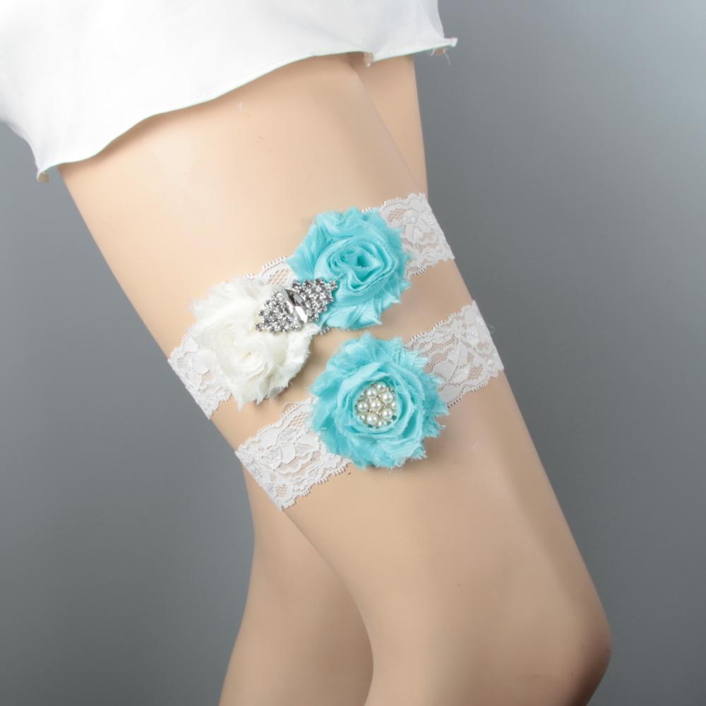 Дизайн кружевная отделка потертый цветок Свадебная подвязка для свадьбы подвязка для невесты синий потертый цветок ручной работы - Цвет: Ivory and sapphireIv