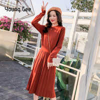 Young Gee Autumn Winter Dress Long Sleeve O-neck Sweater Dress Women Thick A-line Slim Female Jumper Knitted Pleated Dresses