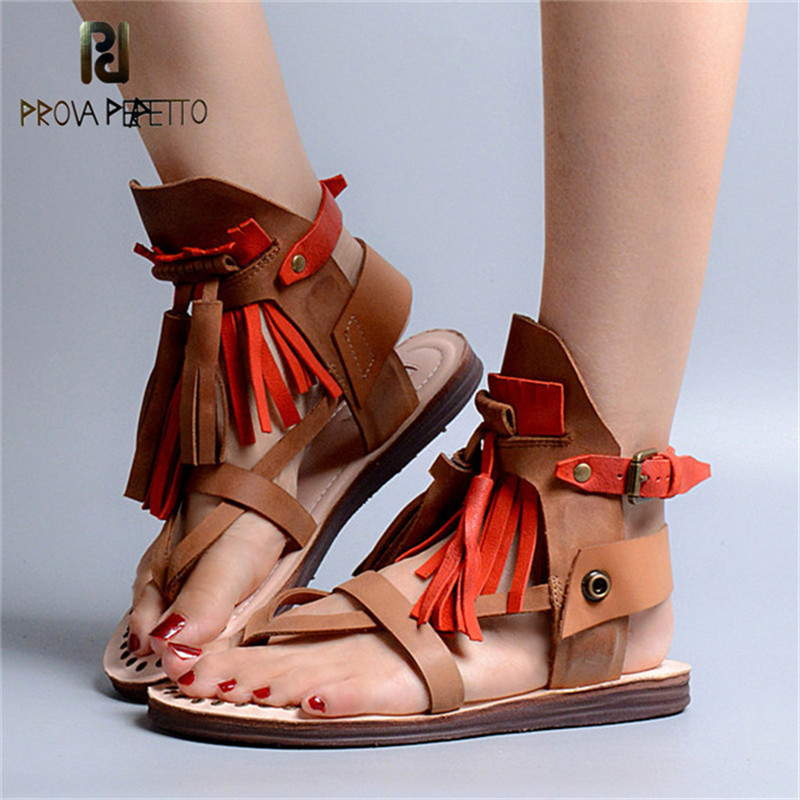 Prova Perfetto New Real Leather Tassels Flat Student Sandals Narrow Band Flip Flop Sandals Ankle Buckle Spell Color Female ShoeProva Perfetto New Real Leather Tassels Flat Student Sandals Narrow Band Flip Flop Sandals Ankle Buckle Spell Color Female Shoe
