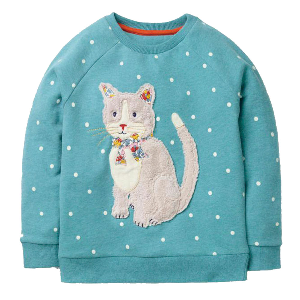 Girls Hoodies 2018 Baby Girl Clothes Winter Children Hoodies for Girls Sweatshirt with Animal Applique Kids Long Sleeve Tops round neck long sleeve 3d coins print sweatshirt